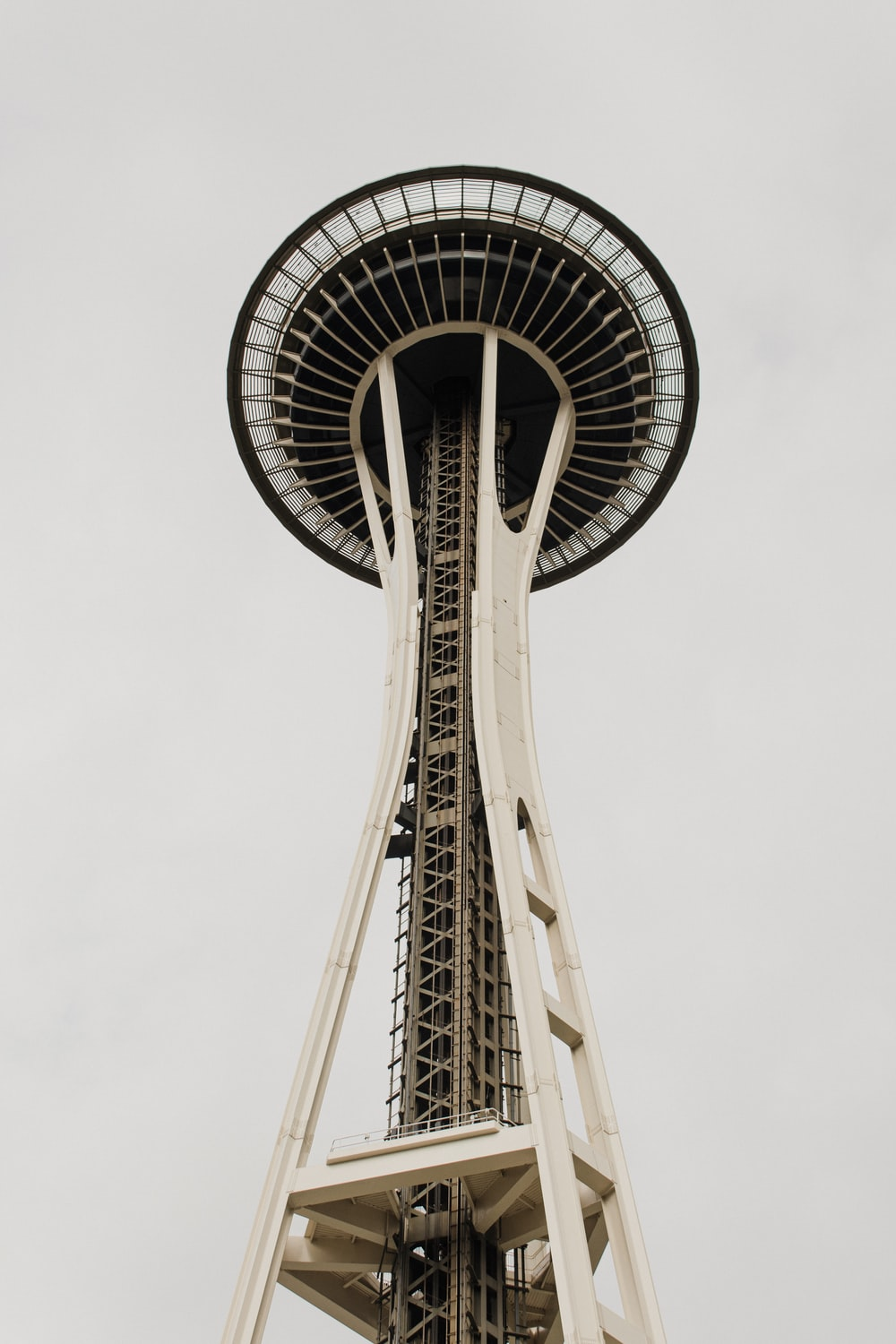 low angle photography of space needle