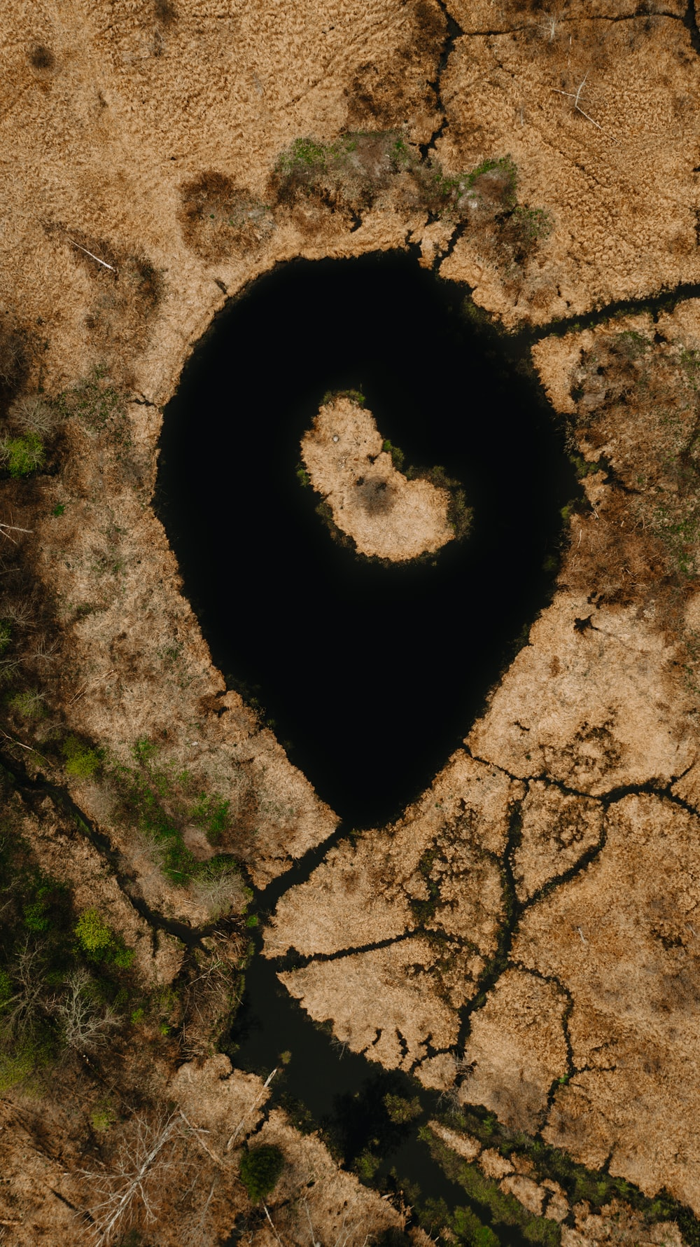 heart shaped hole on brown soil
