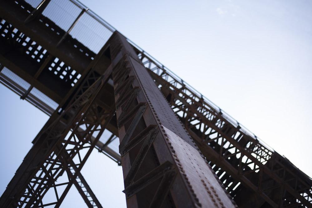 brown and gray metal bridge