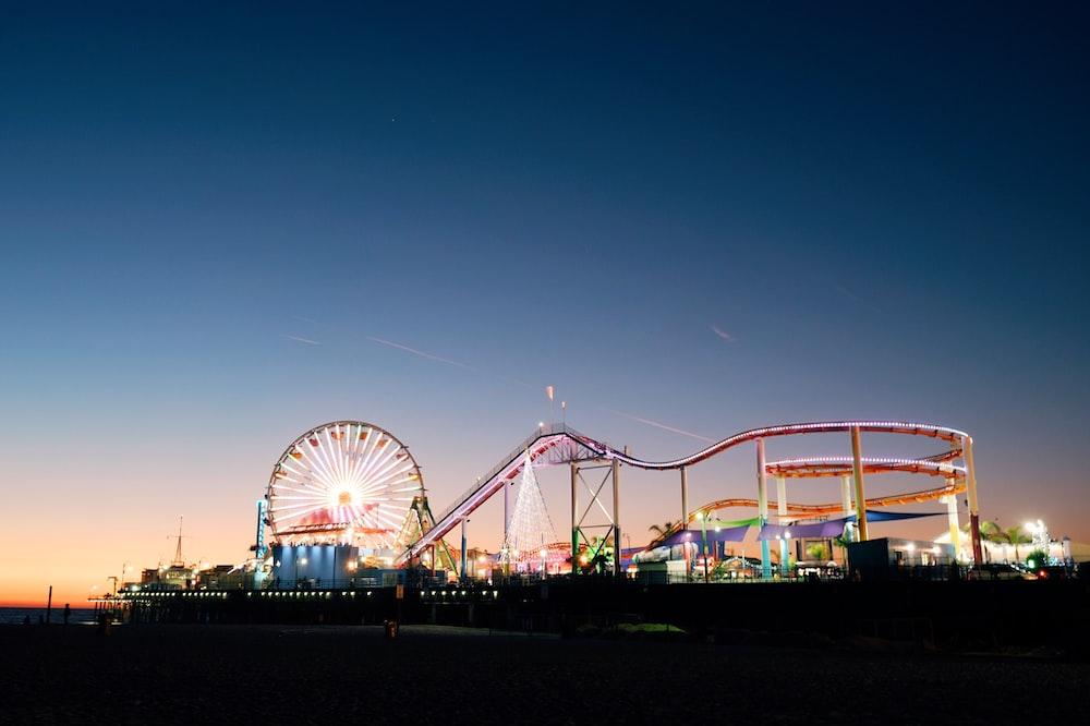 ferris wheel under blue sky during night time