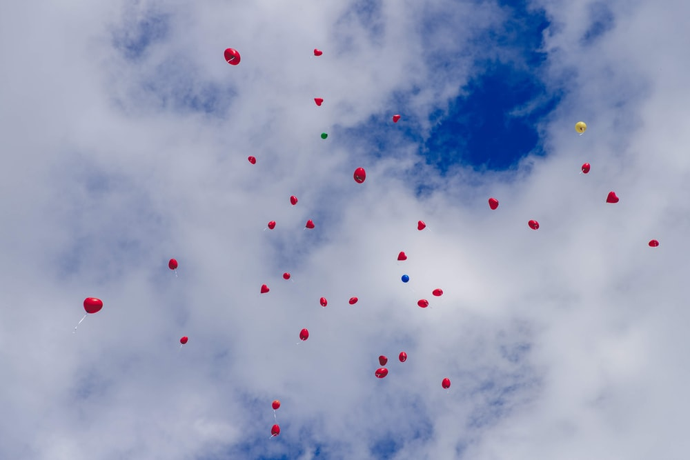red and black balloons in the sky