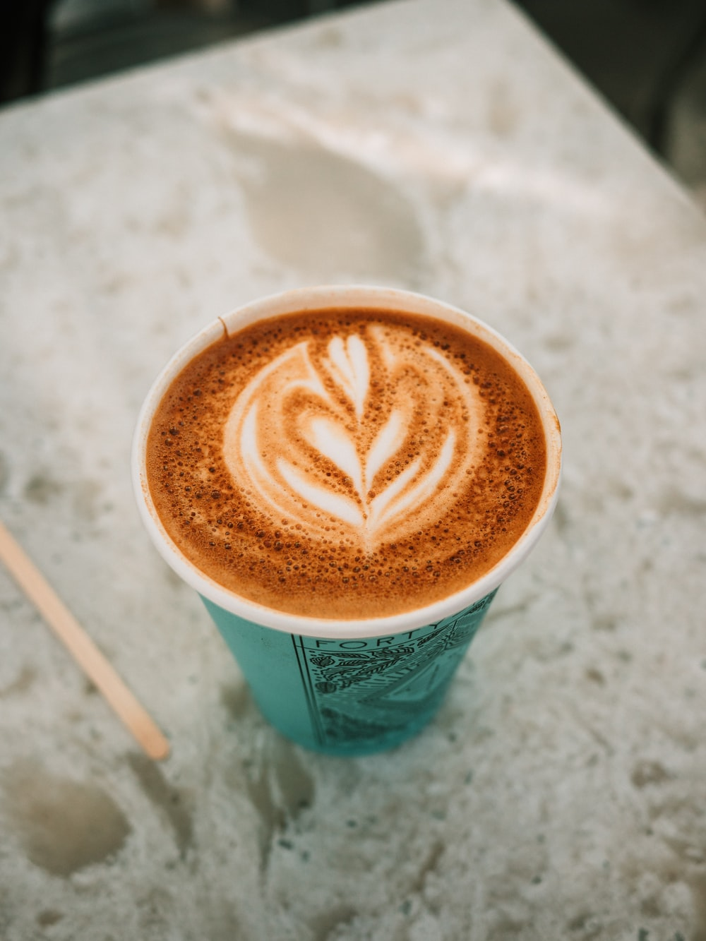 blue and white coffee cup