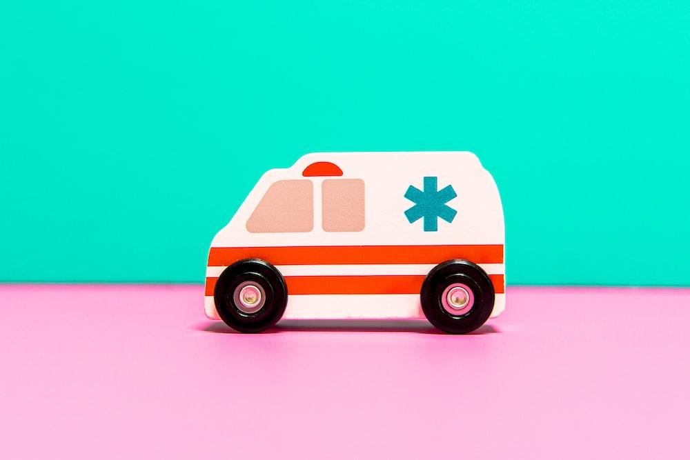 orange and white van toy
