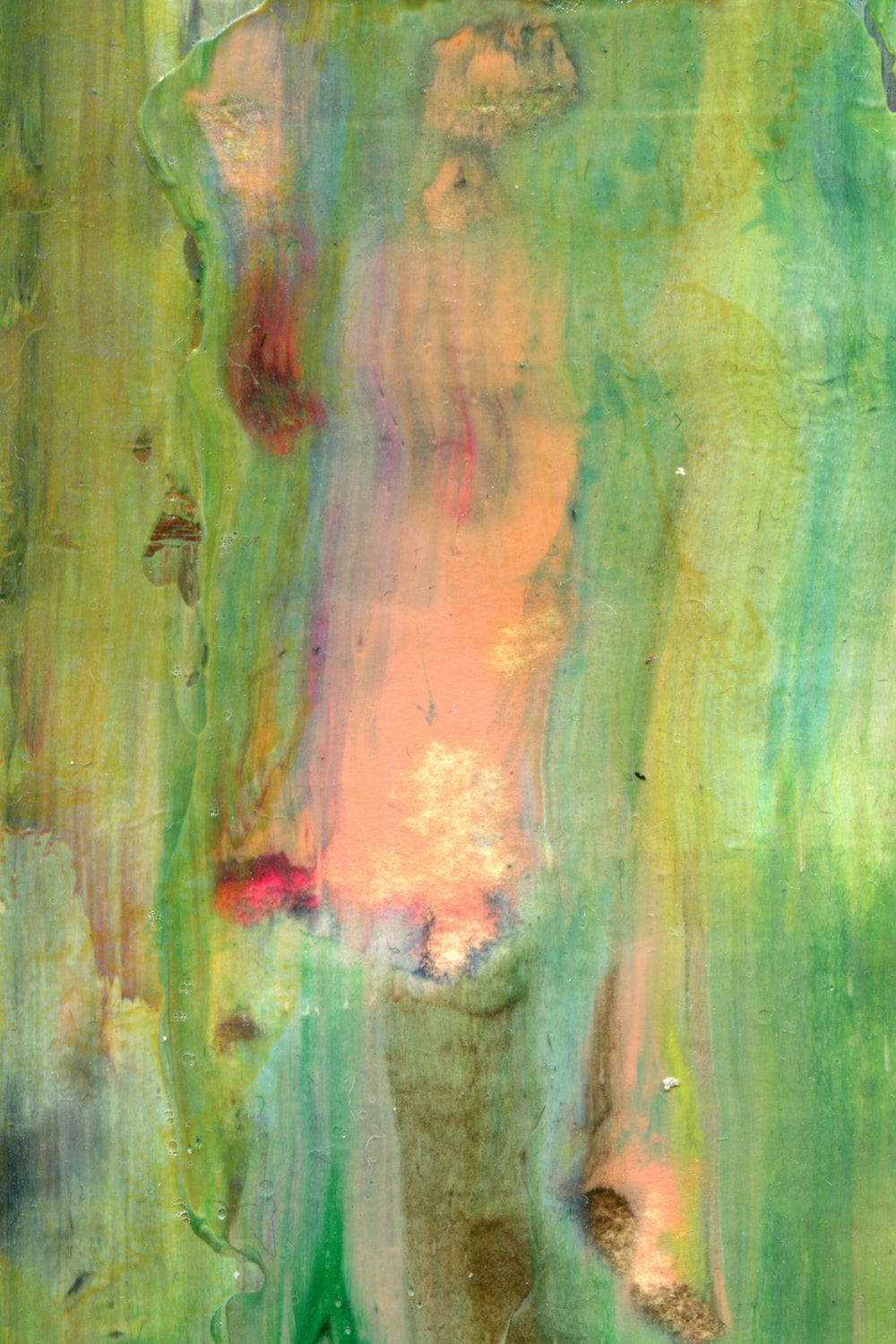 green and brown abstract painting