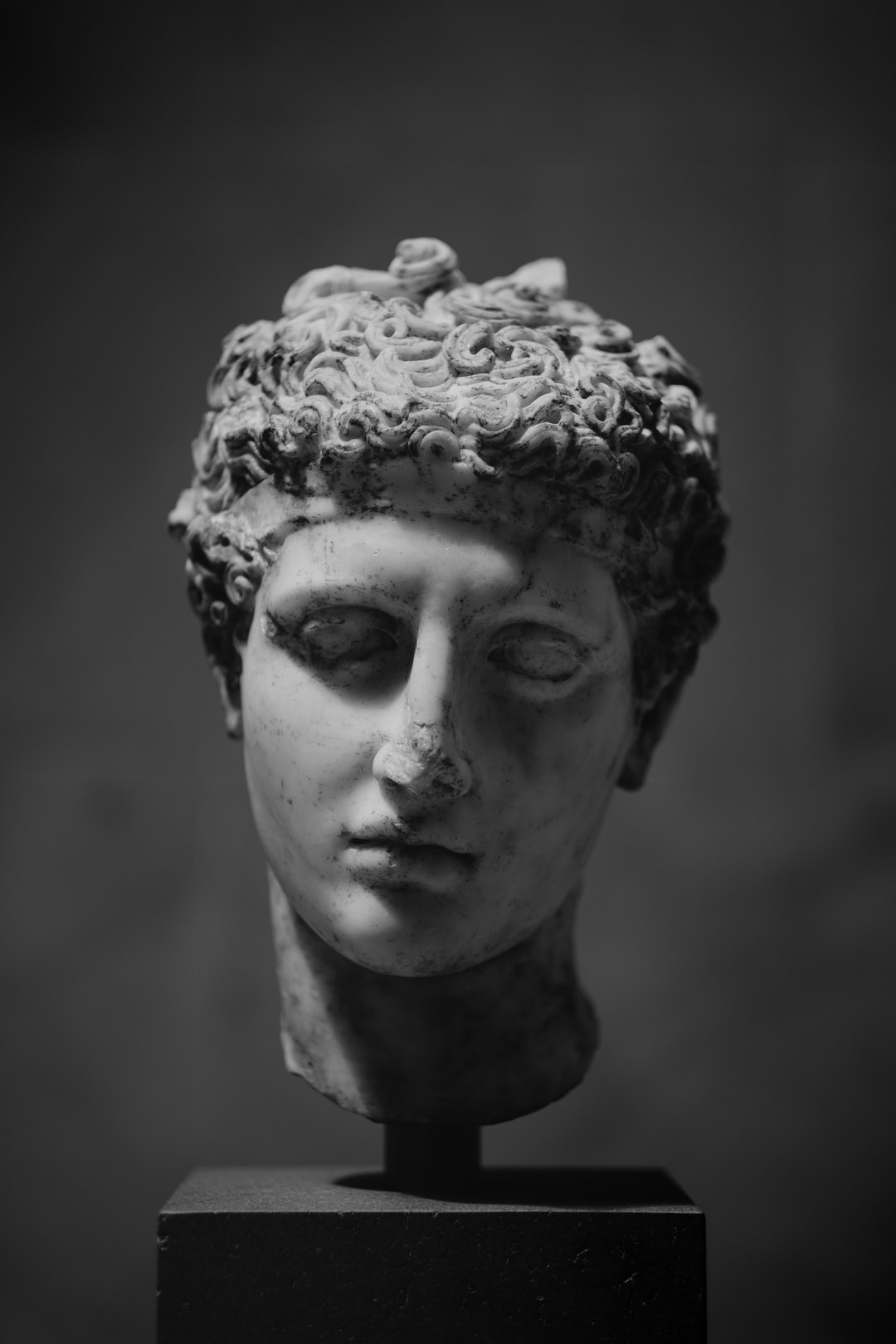 Marble head of an athlete. Roman, 2nd century CE, at the Metropolitan Museum of Art.