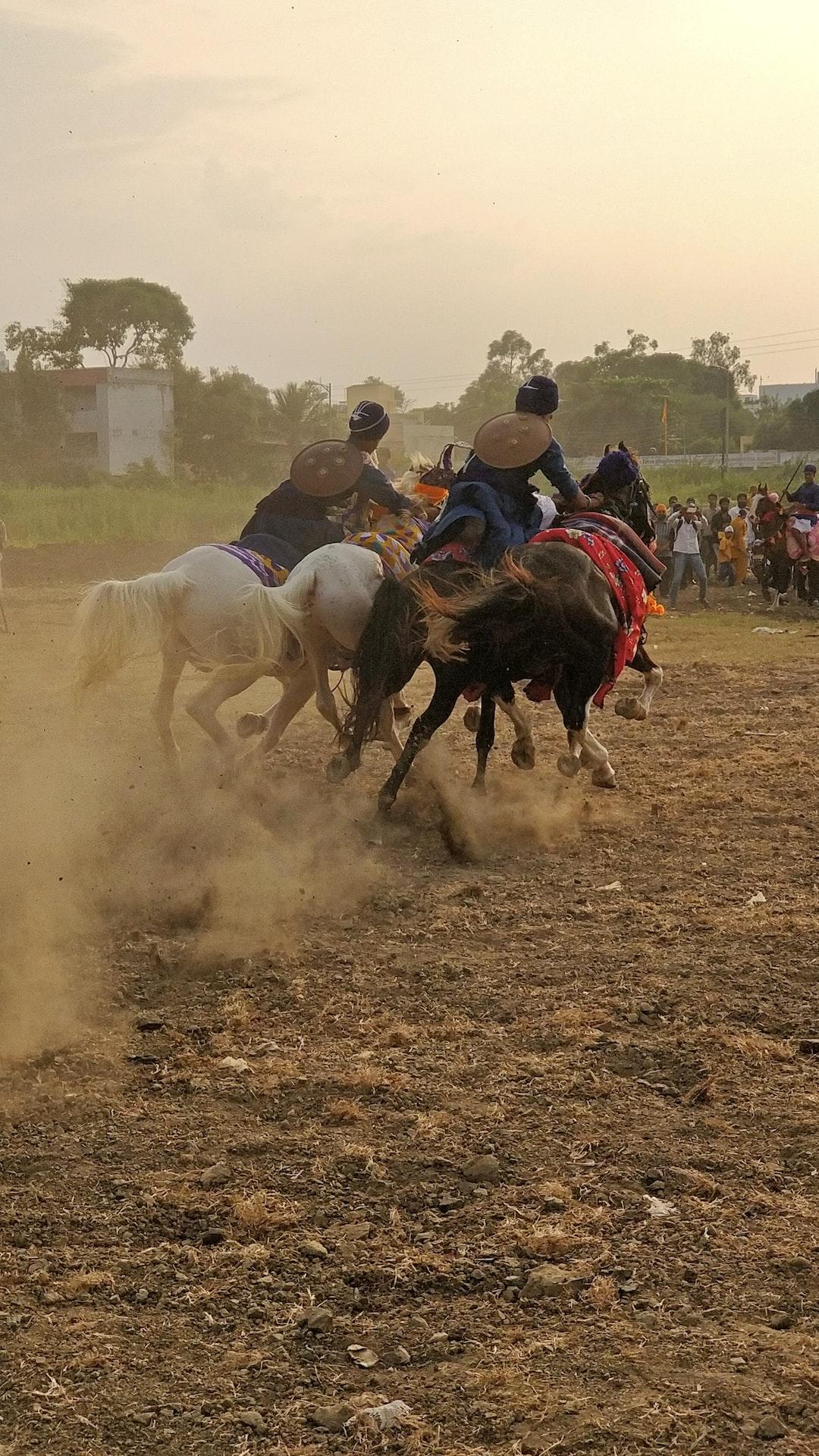 Two Nihang riders riding on three horses at hola mohala (holi) festival at Hazursahib, Nanded.