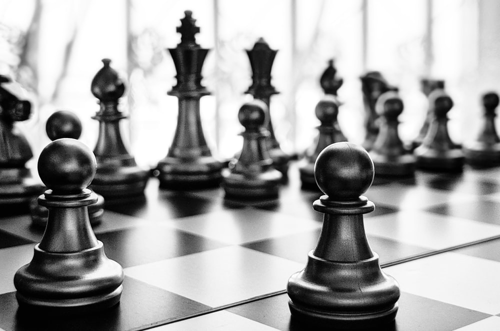 black and white chess piece