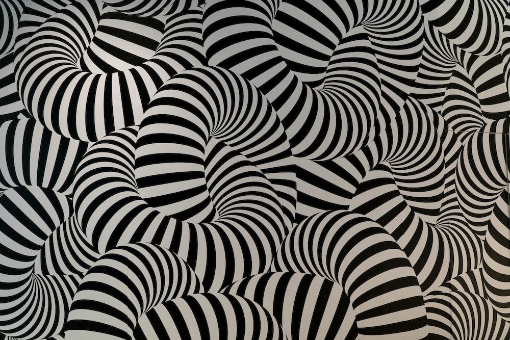 black and white striped textile