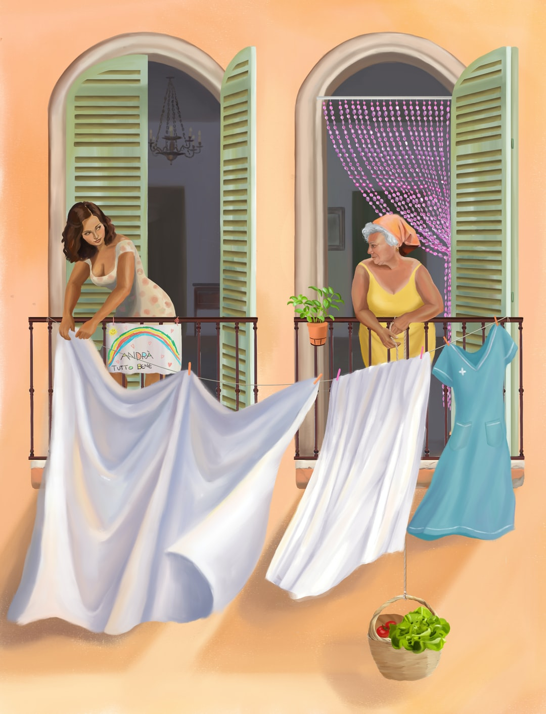 """Tutto Andrà Bene. This illustration was made to highlight the strong sense of community in Italy, which has been reinforced through facing this crises together. In Naples, the """"Panaro"""", an invention of a basket tired to a string which people dangle out of their window to collect their groceries and avoid going down the stairs, has become indispensable for the most vulnerable people of the community. Image created by Lélie Lesage. Submitted for United Nations Global Call Out To Creatives - help stop the spread of COVID-19."""
