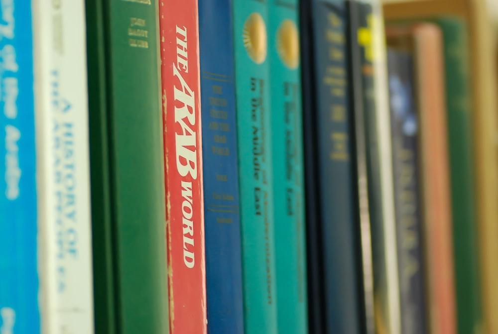 books on shelf in room