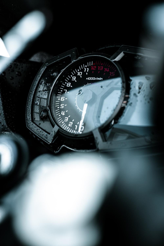 black and white analog watch