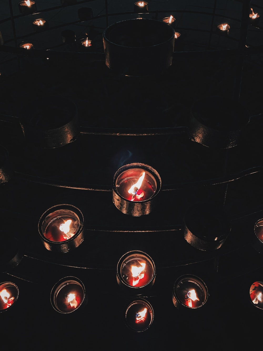 black and red gas stove