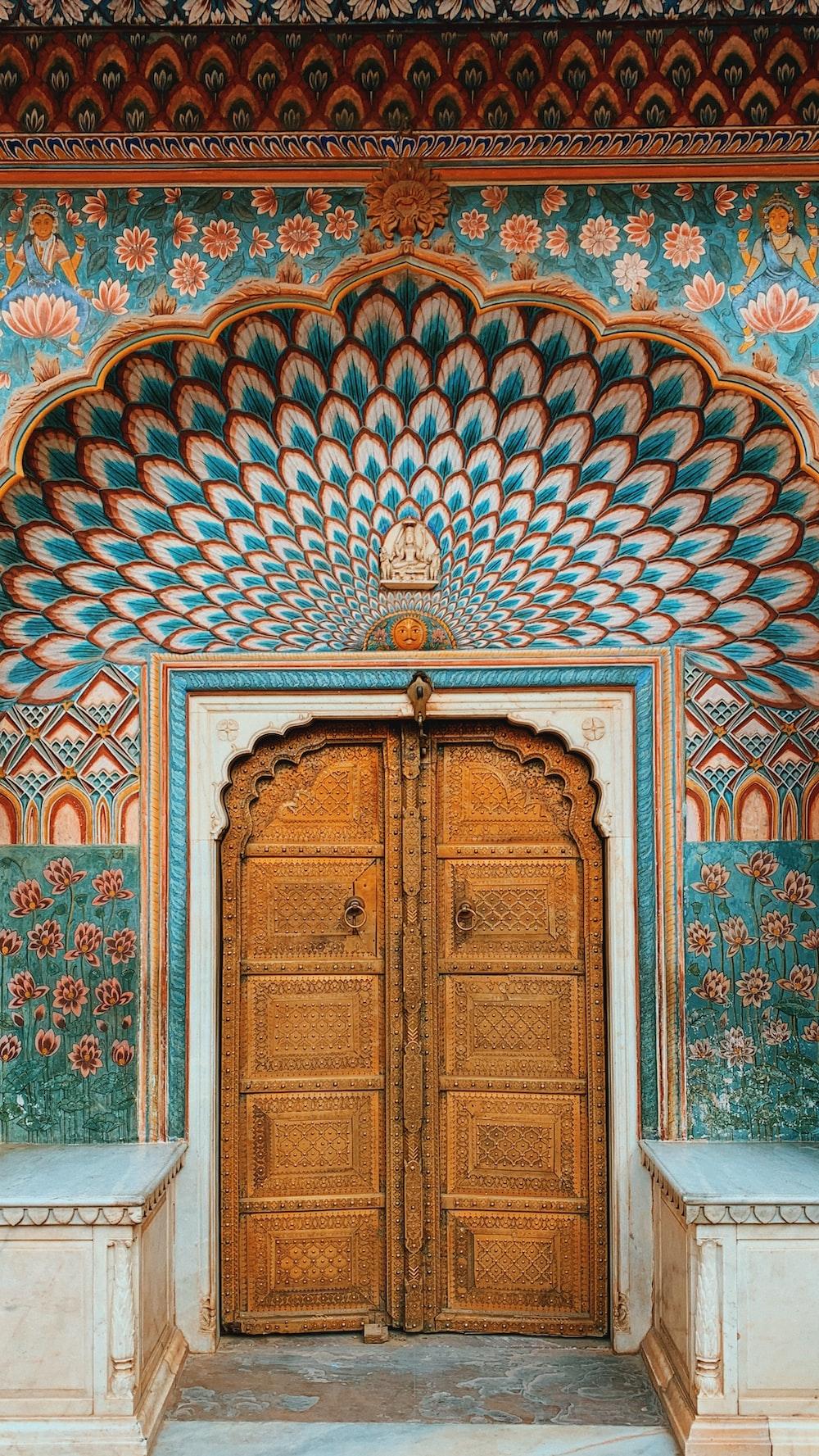 blue and brown wooden door