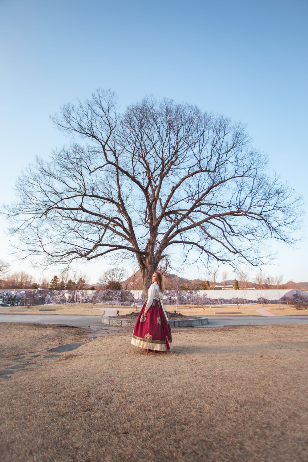 woman in red dress standing on brown dirt road near bare trees during daytime