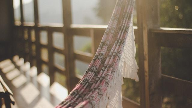 white and pink mesh hammock
