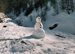 snowman on snow covered ground during daytime