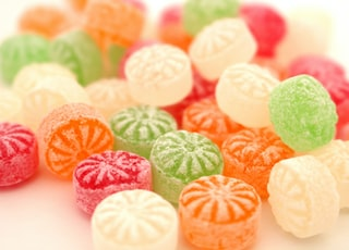 pink green and white candies