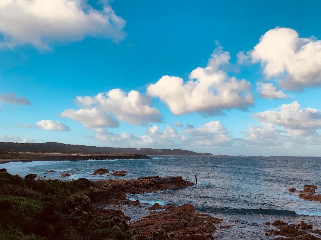 View of kind islands coastline. Tasmania, Australia.
