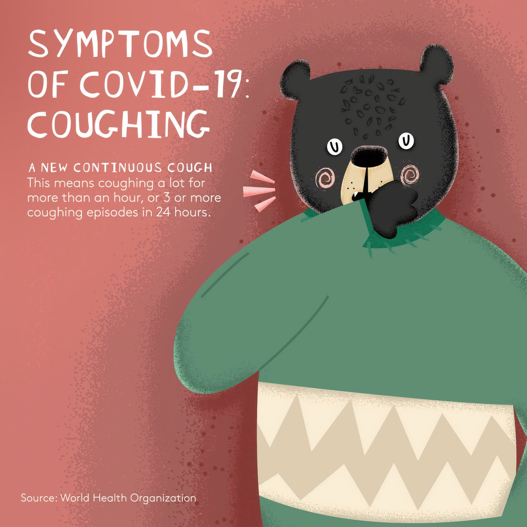 The Symptoms of Covid-19 with Friendly Animals. Image created by Theobald Fox. Submitted for United Nations Global Call Out To Creatives - help stop the spread of COVID-19.