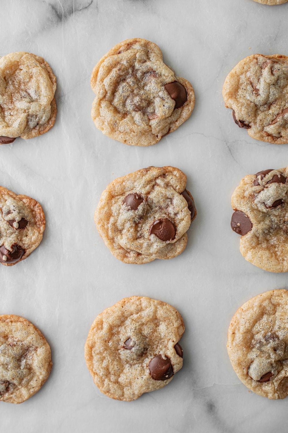 brown cookies on white textile