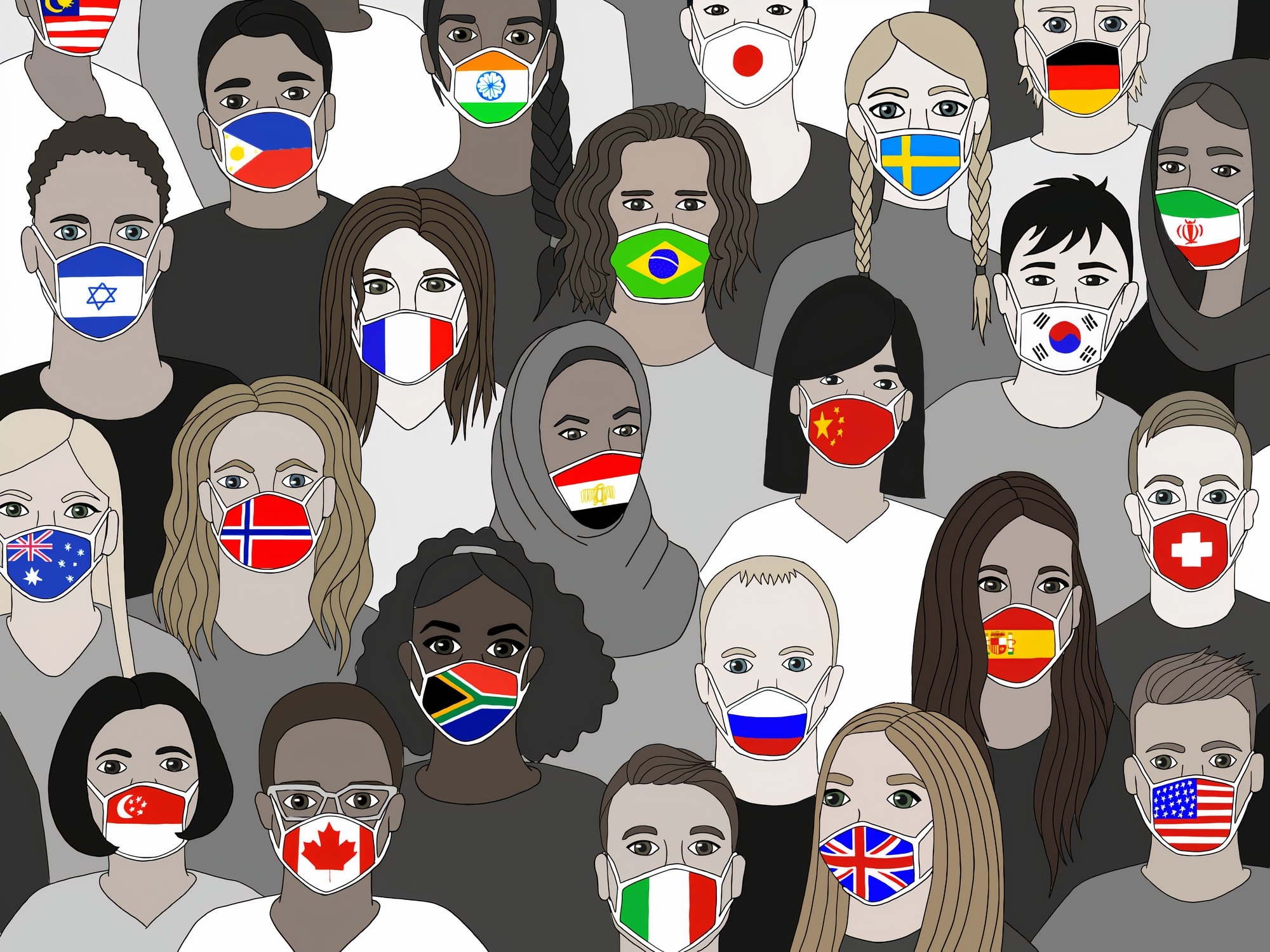 Together We Unite. My illustration shows the power of togetherness, using images people from different COVID19 impacted countries. The facemask has become a symbol of protection during the pandemic. By imposing flag images on the masks it showcases the on going efforts made by effected nations to ensure the safety of their citizens. Image created by Laura Makaltses. Submitted for United Nations Global Call Out To Creatives - help stop the spread of COVID-19.