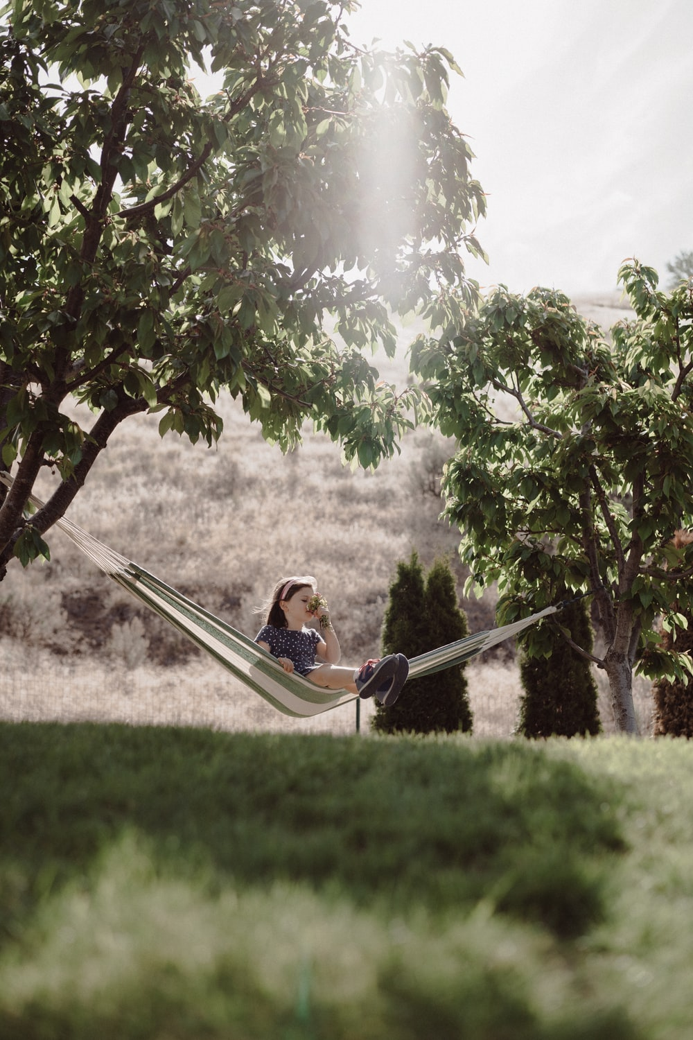 woman in black and white stripe shirt sitting on hammock under green tree during daytime