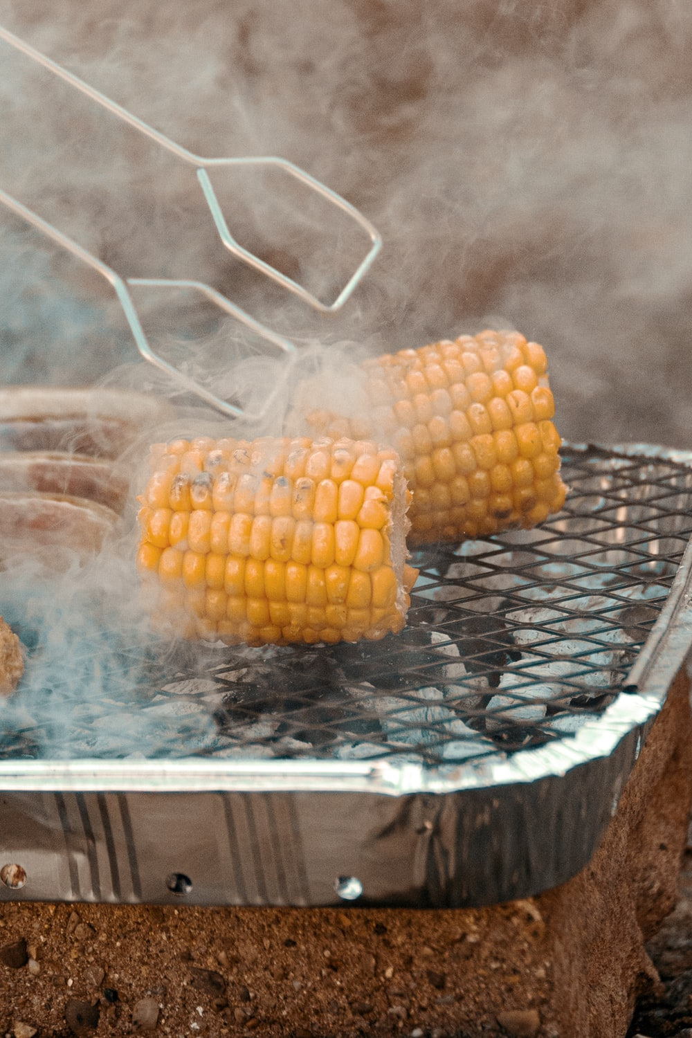 corn on clear glass tray