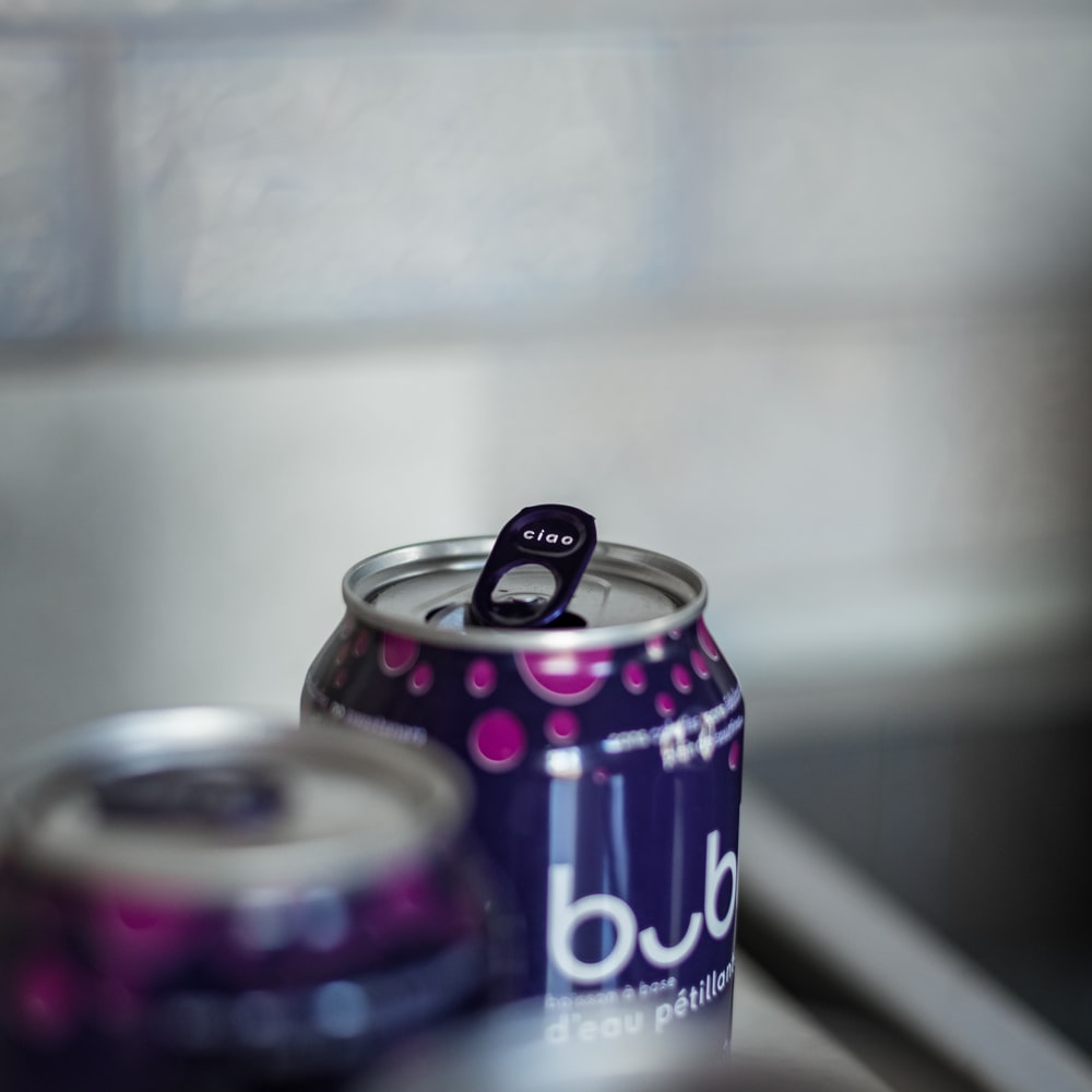 purple and black pepsi can