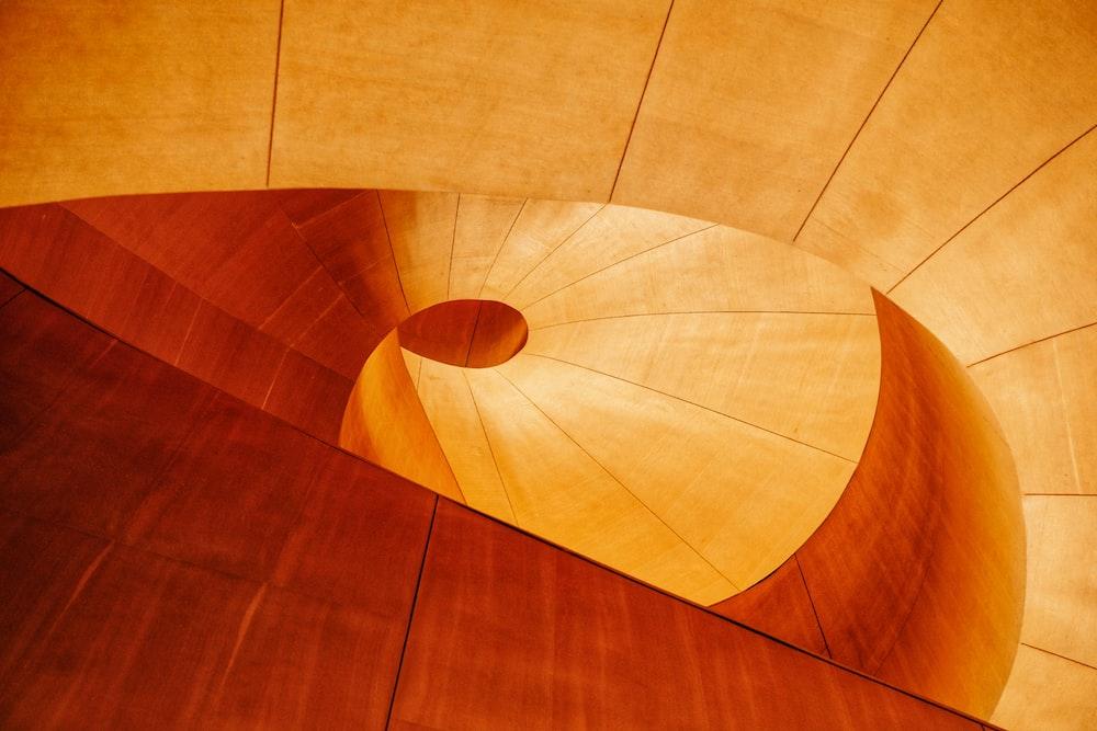 brown wooden round floor tiles