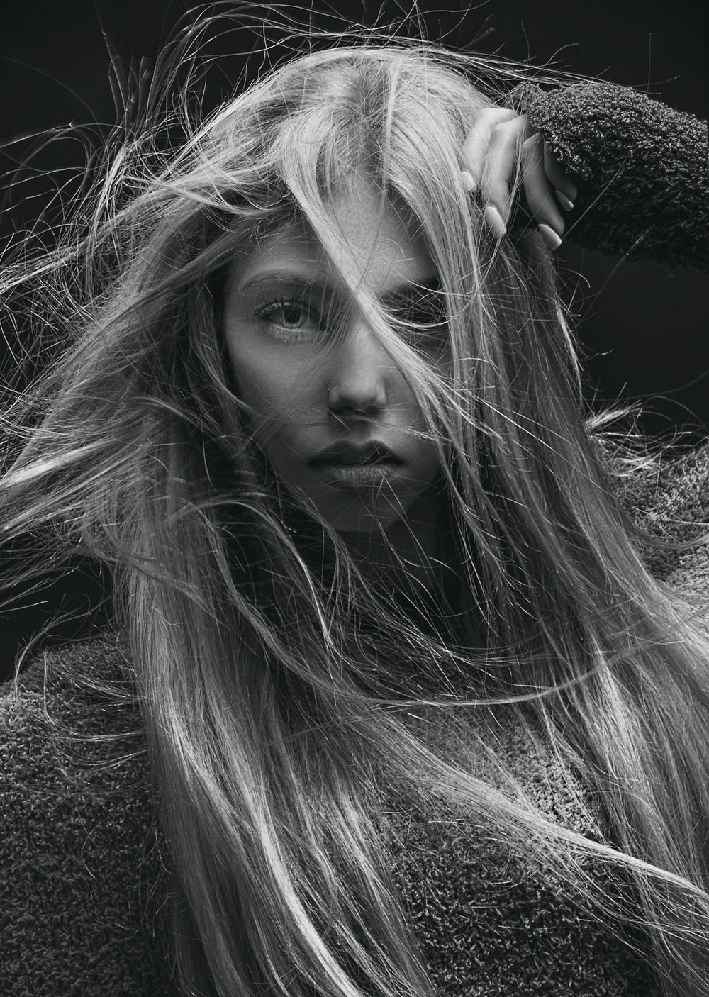grayscale photo of woman with long hair