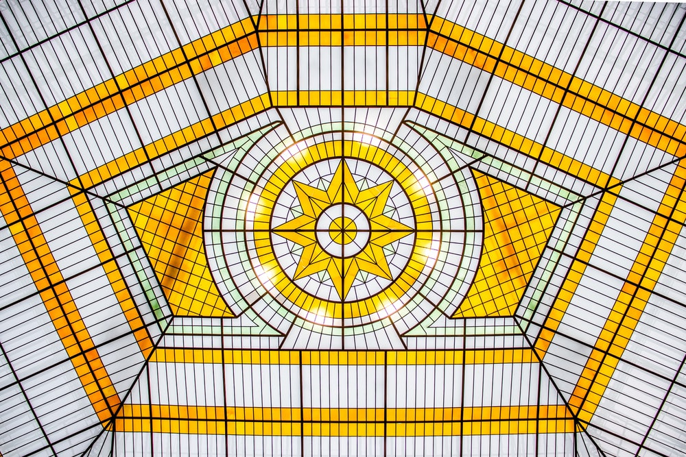 yellow and black round ceiling