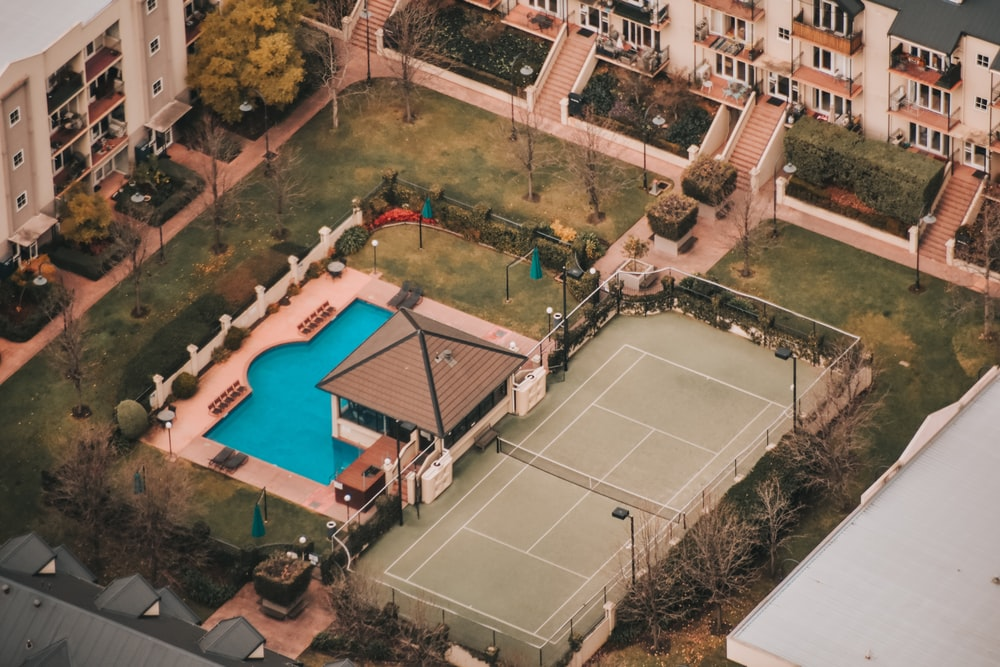 aerial view of swimming pool during daytime