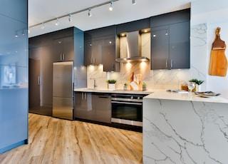 white and black kitchen counter