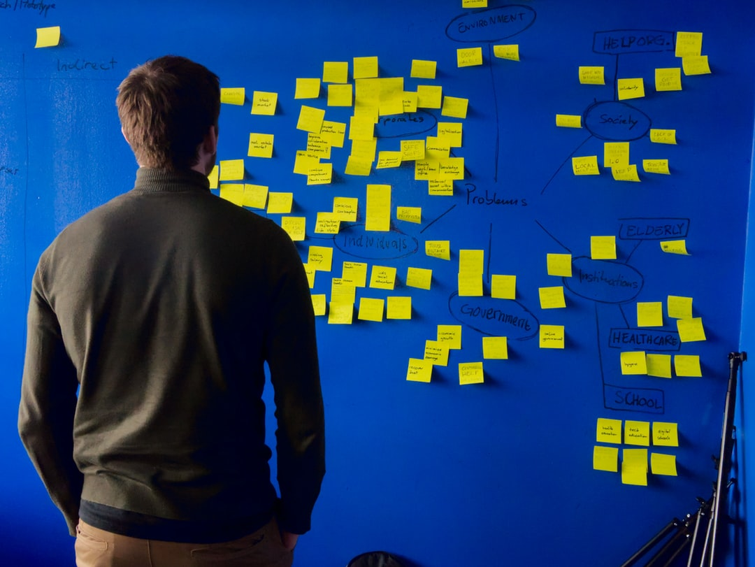 Brainstorming ideas with post-it notes