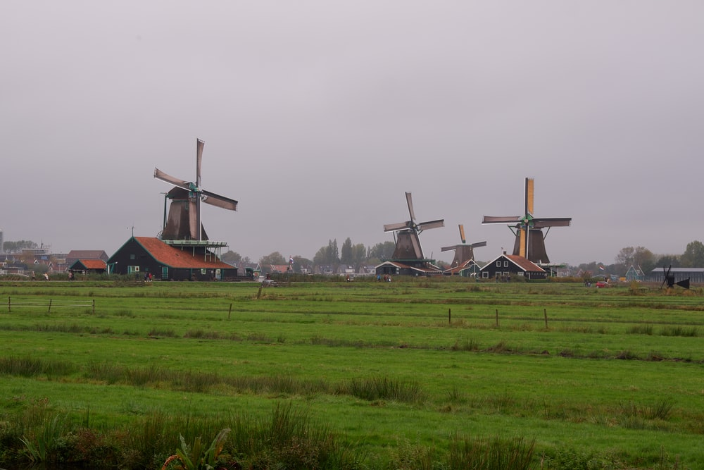 brown windmill on green grass field under gray sky during daytime