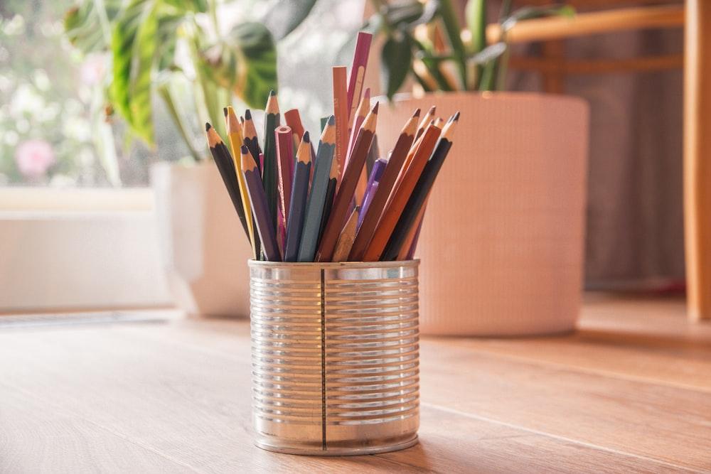 pencils in clear glass jar