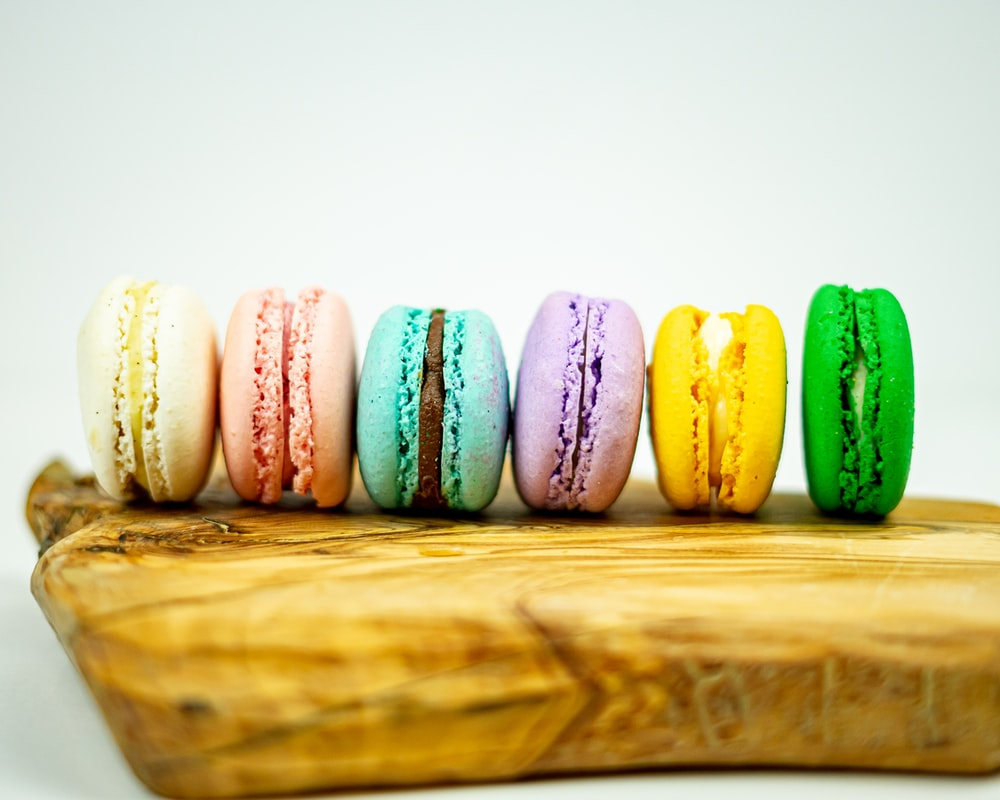 green yellow and pink french macaroons