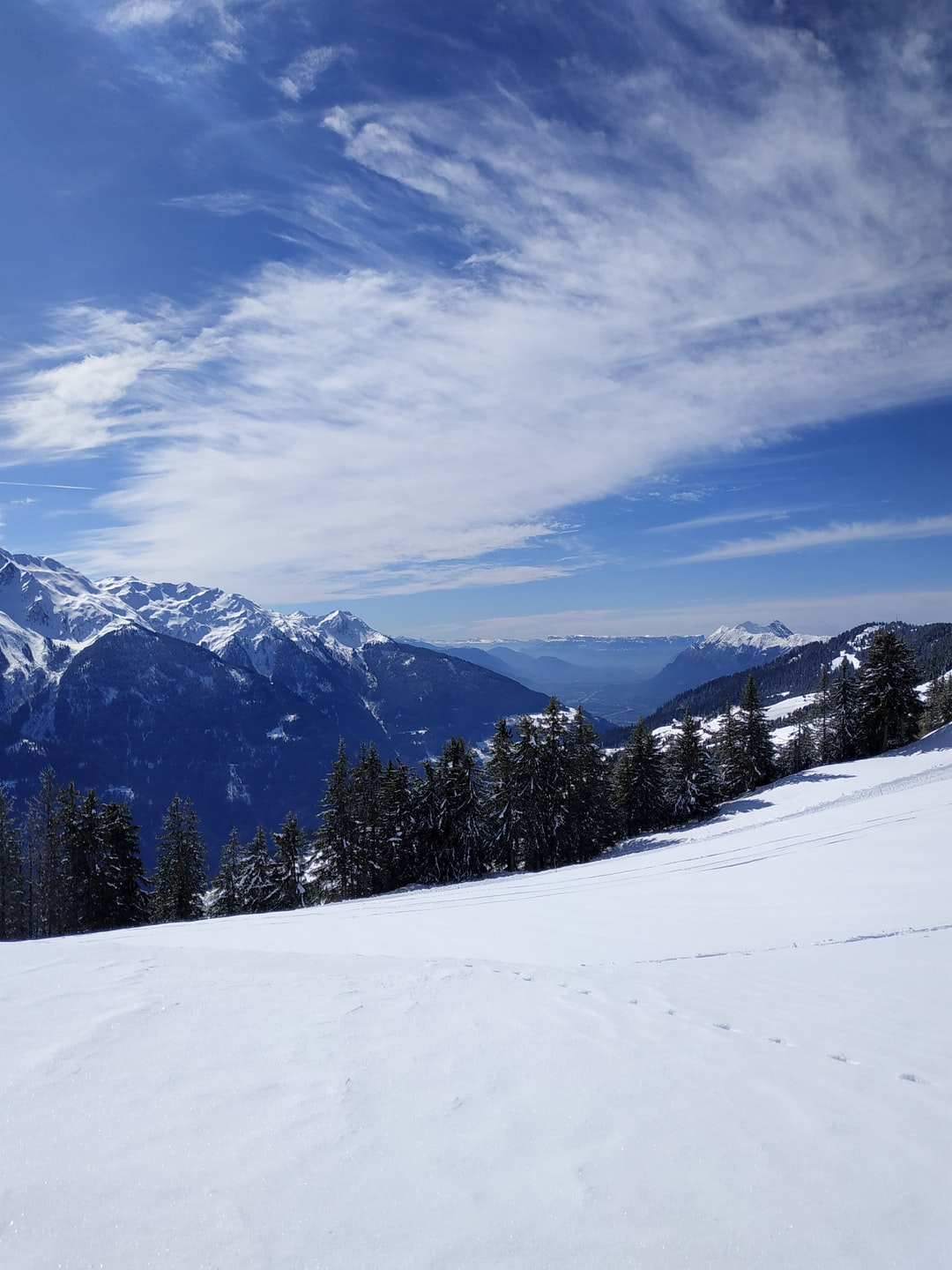 Beautiful view with sun and snow