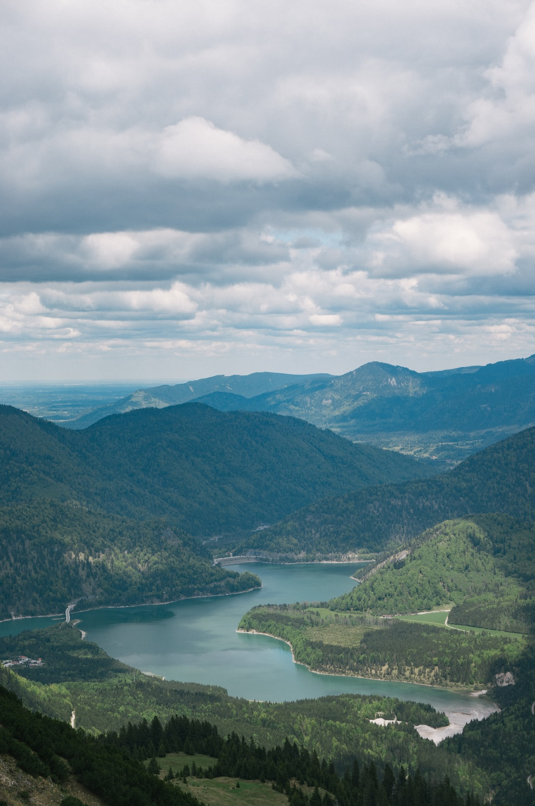 View over lakes and rolling hills