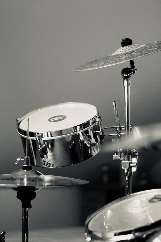 white and black drum set