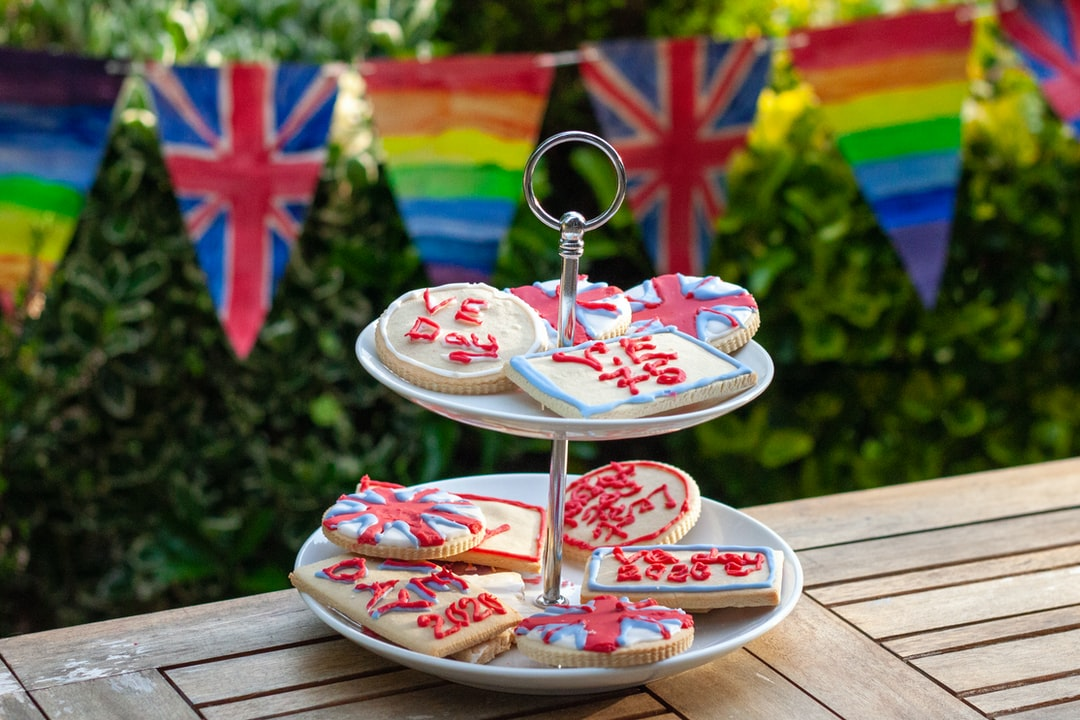 VE Day bunting and biscuits. 75 years 2020. Home baking