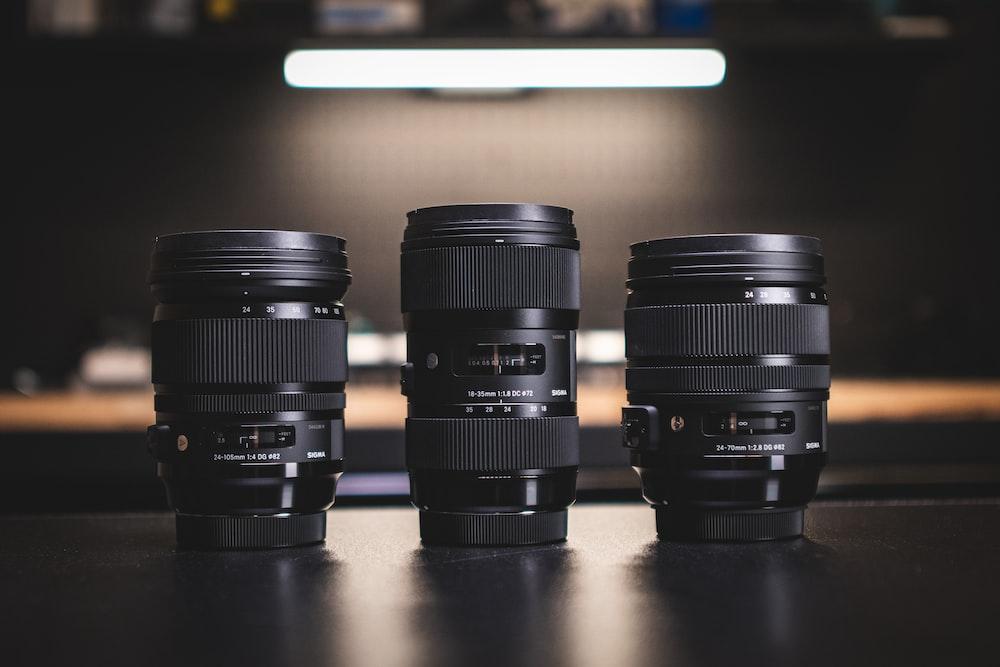 black camera lens on table