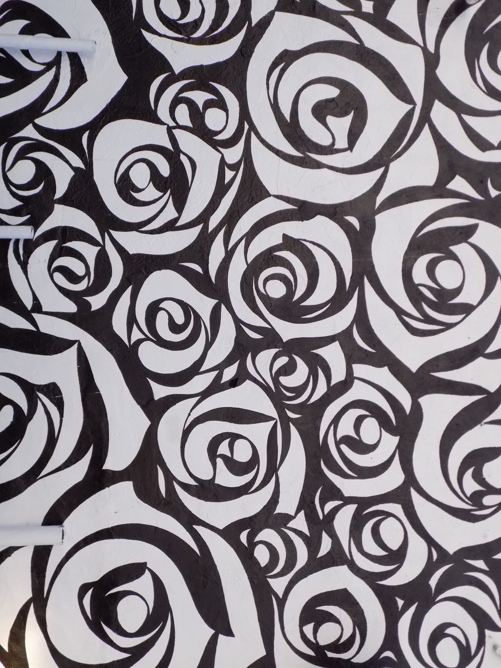 black white and pink textile