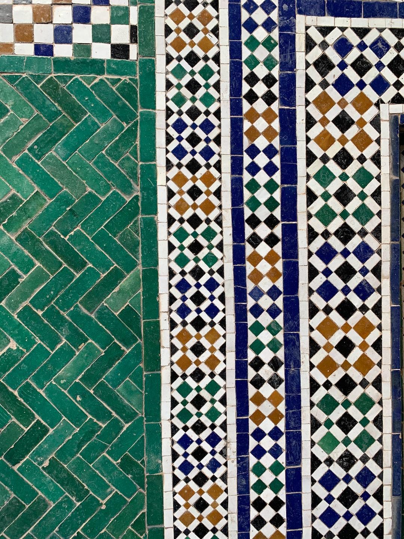 Wallpaper style decorative tiles pattern at the Secret Garden in Marrakech Médina.