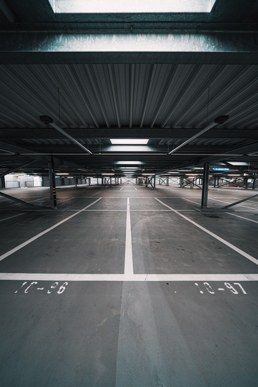 gray and white parking lot