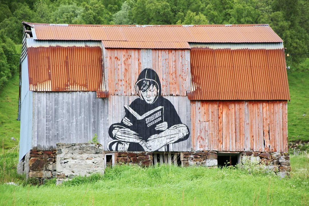 A street-art painted on the wall of an old barn in the countryside of Norway.