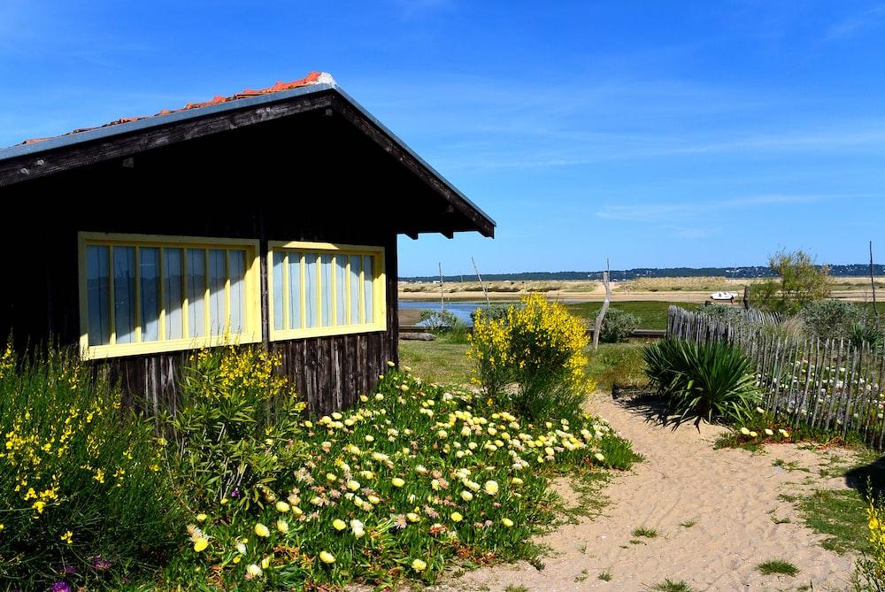 brown wooden house near green grass field under blue sky during daytime