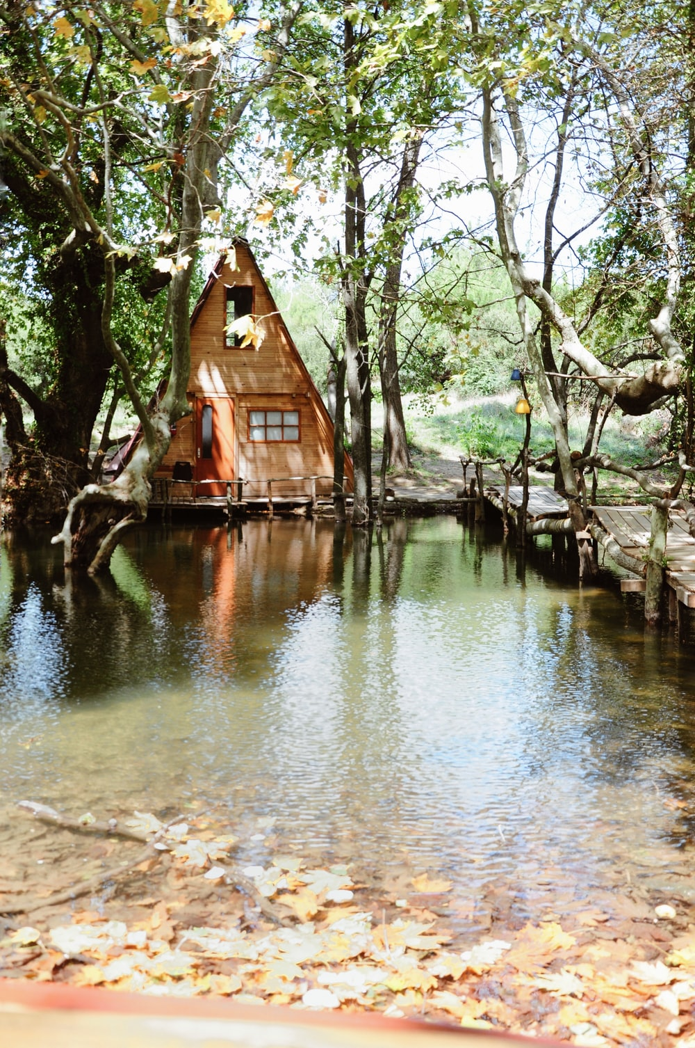 brown wooden house on river bank during daytime