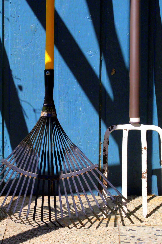 black and yellow umbrella on white metal fence
