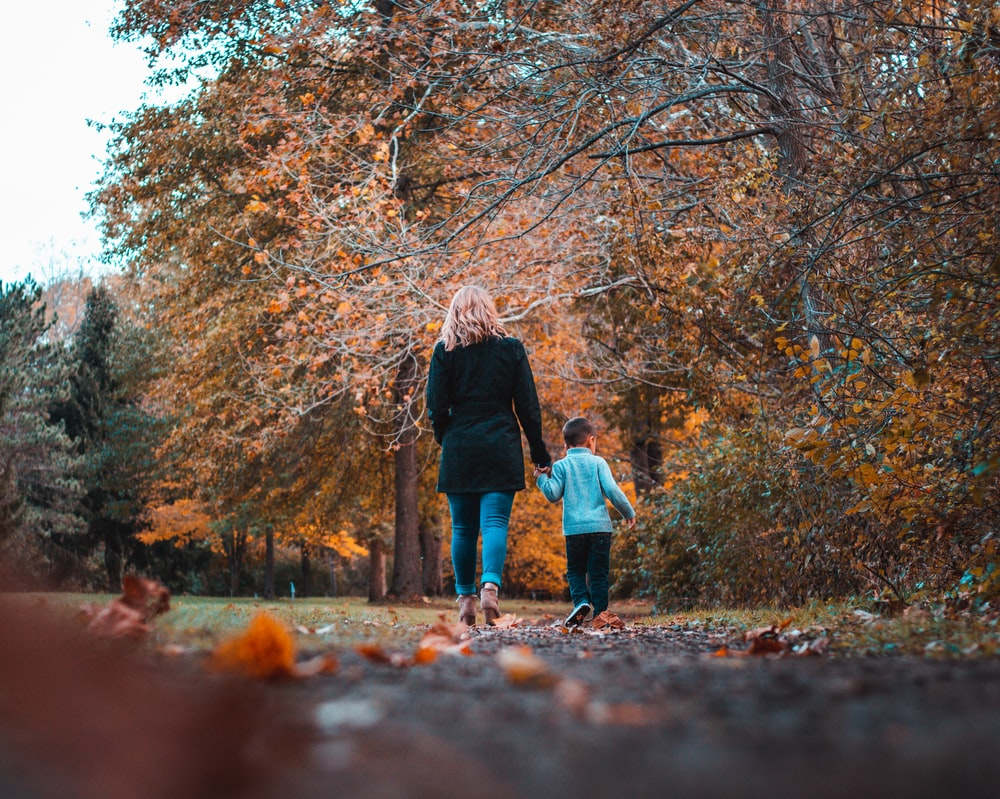 woman in black jacket and blue denim jeans walking on dried leaves on ground with brown